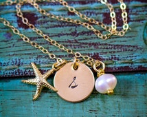 SALE - Gold Starfish Necklace - Gold Bridesmaid Necklace - Beach Jewelry - Beach Charm - Dainty Charm Necklace - Summer Necklace - Small