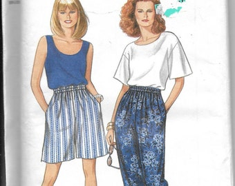 Pattern Womens Shorts, Pants, Top Sleeveless, Short Sleeve-UNCUT Simplicity 8254-It's So Easy series- Dated 1996 -Sizes A 10 12 14 16 18-20*