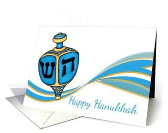Hanukkah|  Greeting Card With Dreidel | Dreidel Hanukkah card