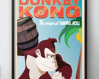 Nintendo Donkey Kong Barrel Roll  | Game Poster |  Unframed