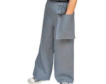 Handmade Linen Trousers with a Pocket