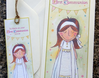 Girls First Communion Card with Personalised Bookmark