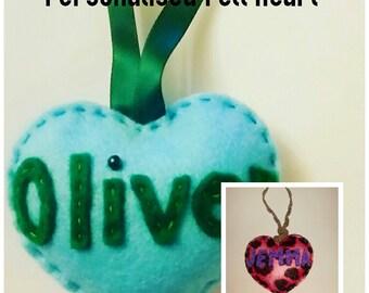 Personalised Name Felt Heart Hanging Decoration