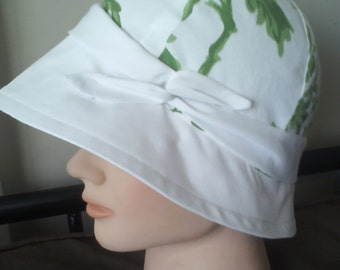 white and green summer cloche