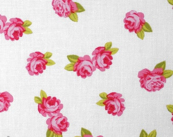 Miniature rose (white) - cotton fabric with small rose - 0, 5 m
