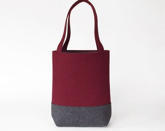 Wool Felt Tote in Maroon and Charcoal Gray | Felt Bag