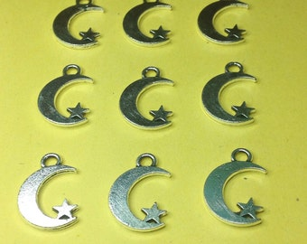9 crescent moon and star charms