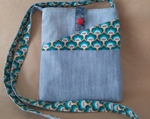 Crossbody Denim Bag, Upcycled Recycled Denim, Cactus Fabric, Handmade Purse, Fabric Bag, Multi Pockets