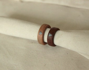 Wooden ring with aluminium inlay