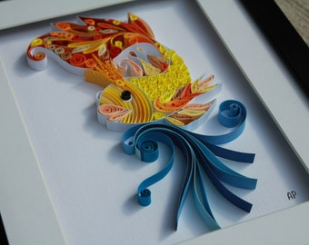 Unique Framed Quilled Paper Art: Goldfish Make a Wish / Wall Art / Decor