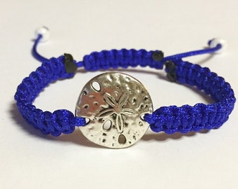 Sand Dollar Charm Bracelet, Royal Blue Nylon Sand Dollar Braided Charm Bracelet