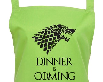 Game of Thrones Dinner is Coming Apron.  House Stark Parody Apron With Direwolf. You Can Choose From 16 Great Colours, 1037