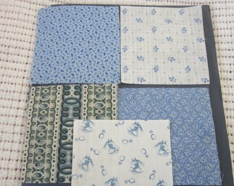 Five 19th Century Prussian Blue Fabric Swatches