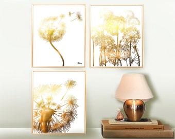 Wall decor Gold Dandelions Prints Set ,  Digital Print Instant Download Prints  Printable Art Poster Wall Art, Digital set botanical prints