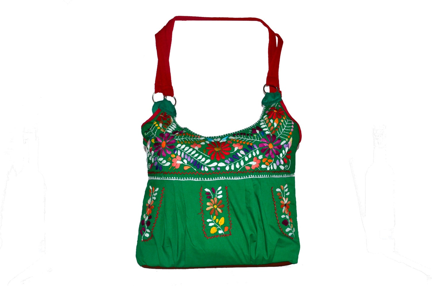 Mexican dress embroidered bag by rojoturquesa