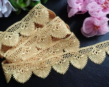 1 1/4 inch wide Embroidered gold  Lace Trim price for 1 yard