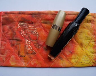 Silk hand painted cosmetics bag, zippered pouch, red and yellow make-up bag, metallic
