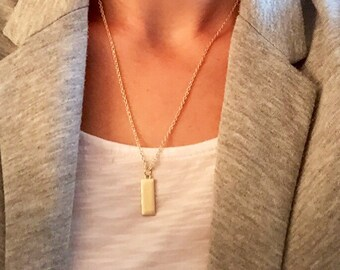 Rectangle Charm Necklace, Gold Charm Necklace