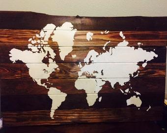 "Huge Rustic Reclaimed Wood World Map 52"" x 35"""