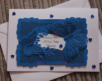 Blue Birthday card with butterfly