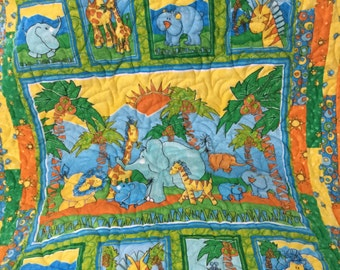 Crib Size Flannel Jungle Theme Baby Quilt