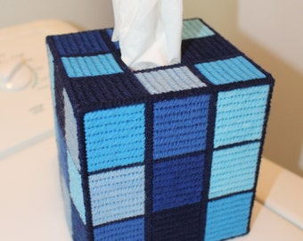 Tapestry 'Shades of Blue' Rubik's Cube Tissue Box - Unique OOAK