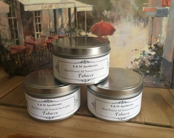 Tobacco Soy Candle 8oz tin
