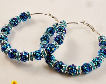 BLUE FOR YOU - Spring Bling Blue Hoop Earrings - 2.5in - Basketball Wives Style