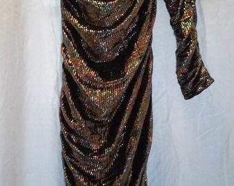 Vintage off the shoulder shimmery Metallic Evening Dress