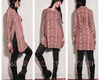 Tunic knee vintage 70's paisley patterned