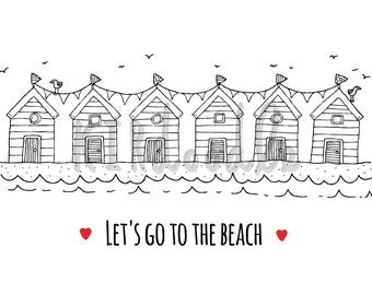 A4 'Let's Go to the Beach' Illustrated Print