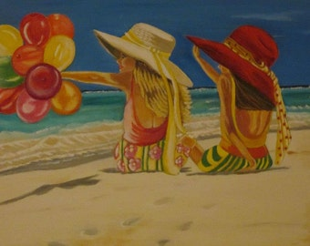 Fun in the sun oil painting.
