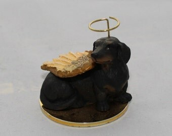 Black and Tan Dachshund Angel Tiny One Dog Figurine