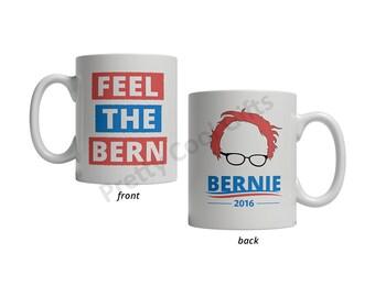 Bernie Sanders 2016 / 2020 Feel the Bern Mug - Bernie Hair Logo Coffee Tea Cup 11oz Ceramic