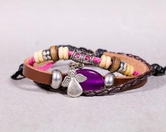 Leather bracelet-Leather Garnet Bracelet- Pink and leather string bracelet-Leather and Silver Angel charm  bracelet  LB16/17