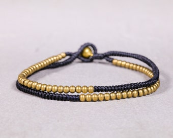Gold And Black Anklet,Half And Half Anklet, Bohemian Anklet, Beaded Anklet, Cord Anklet,A-9