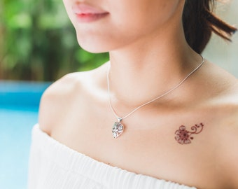 Silver heart pendant, Sterling Silver chain, Silver  pendant, Pendant, Silver necklace, bohemian necklace, Silver jewelry (P29)