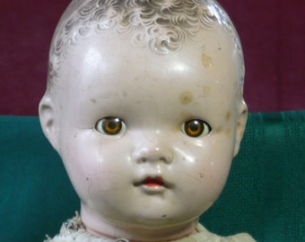 """1930-40s Ideal Doll Composition with Sleep Eyes and Cloth Body 19"""""""