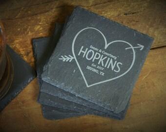 Engagement Gift, Custom Coasters, House Warming Gift, Bride Groom Gift, Slate Coasters, Wedding Gift, Slate Gift - Set of 4 - LES1000070