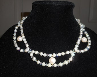 Princess-style Freshwater Pearl and Swarovski Crystal Scalloped Necklace