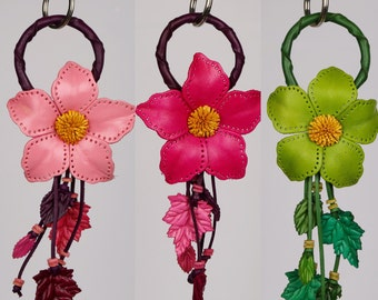 Leather Flower Keychain, Leather Purse Charm, Purse Charm, Keychain, Key chain,