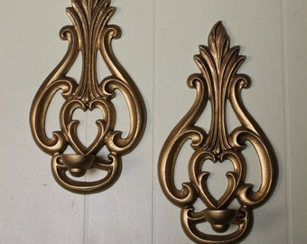 Metal Wall Candle Holders - pair