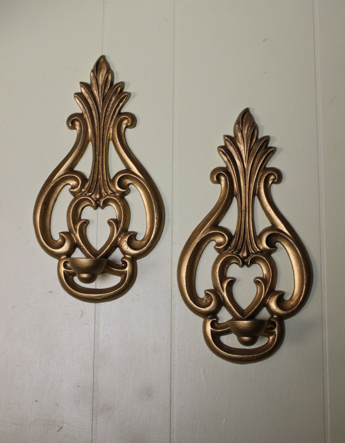 Metal Wall Decor Candle Holder : Metal wall candle holders pair