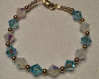 Aquamarine and White Opal Gold Swarovski Bracelet