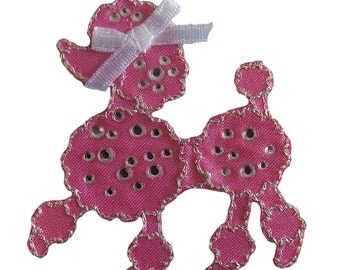 Pink Jewelled Poodle Iron On Applique
