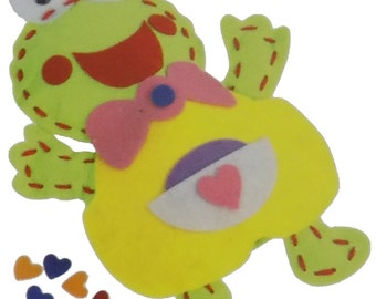 Kids Create Your Own Felt Character Green Frog 14cm x 20cm