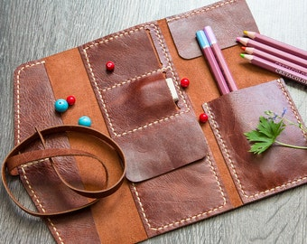 Handmade Leather Pencil Case. Colored Pencil Holder. Pen Case. Pencil Pouch. Pencil Roll. Tool Bag. Artist Gift, Gifts For Artists. Small.