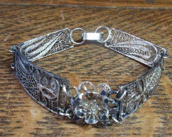 800 Silver Victorian Filigre Bracelet