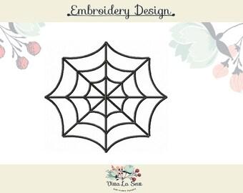 Spider Web Halloween Satin Stitch Embroidery Design
