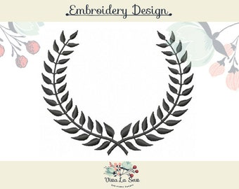 Laurel Wreath  Satin Stitch Four Sizes - Machine Embroidery Design